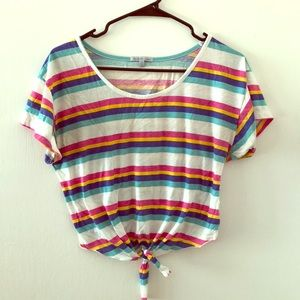 Striped crop top with tie